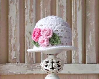 Baby Easter Bonnet, Baby Girl Easter Hat, Cream & Pink Baby Flower Hat, Crochet Easter Hat, Brimmed Hat, Crochet Cloche Hat