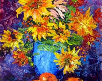 Sunflower Painting, Painting, Sunflower Art, Home Decor, Wall Art, Wall Decor, Flower Painting, Still Life