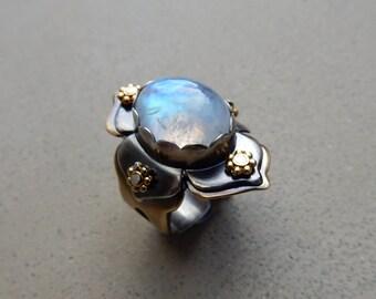 Lotus Ring with Rainbow Moonstone, Cosmic Light, Spiritual Healing, Inner Journeys, Mixed Metal, Adjustable, Size 6.5 to 9.5