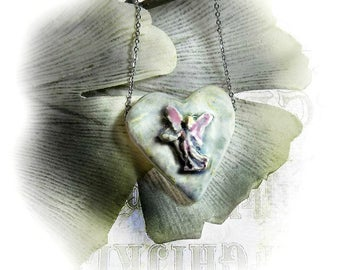 Heart necklace - Angle necklace -  unique necklace - Pendant necklace - one of a kind necklace - gift necklace  # 46