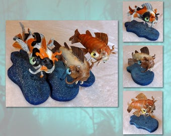 Catfish Platter; Calico, Marmalade Tabby & Siamese   original sculpture(s) by Jett Vincent Bailey