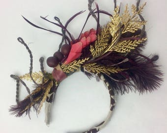 Gold Glitter and Plum Feather Floral Vine Headpiece