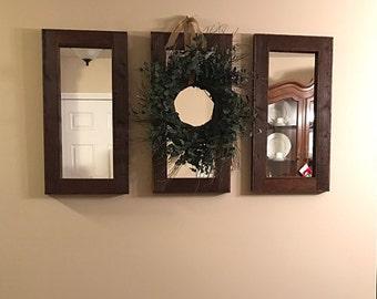 Three 28 x 14 mirrors -  3 Piece Collage Set - Rustic Decor - Reclaimed wood Mirror - Wall Art