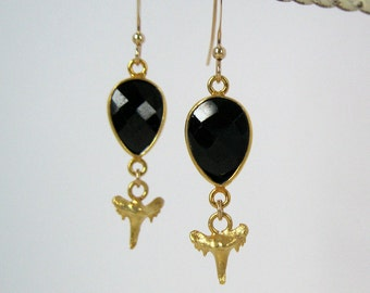Black Onyx and Shark Tooth charm dangle gemstone earrings 14k gold filled wires