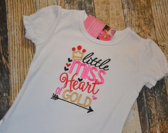 Girl's Valentine's Day Shirt - Little Miss Heart of Gold - Personalized with Name - Ruffle Tshirt or Plain - White Red and Gold