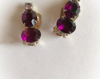 Vintage Purple Rhinestone Earrings Clip On