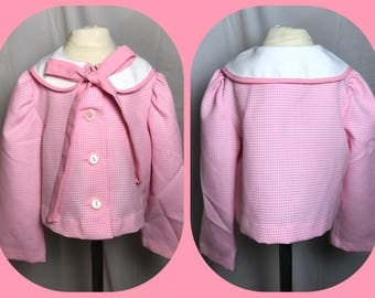 Roanna Pink and White Hounds-tooth Short Waisted Boxy Coat With Contrast Collar and Pink Bow Tie - Size 4