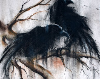 """Original Charcoal Raven Drawing Two Crows on a Branch  12x8"""""""