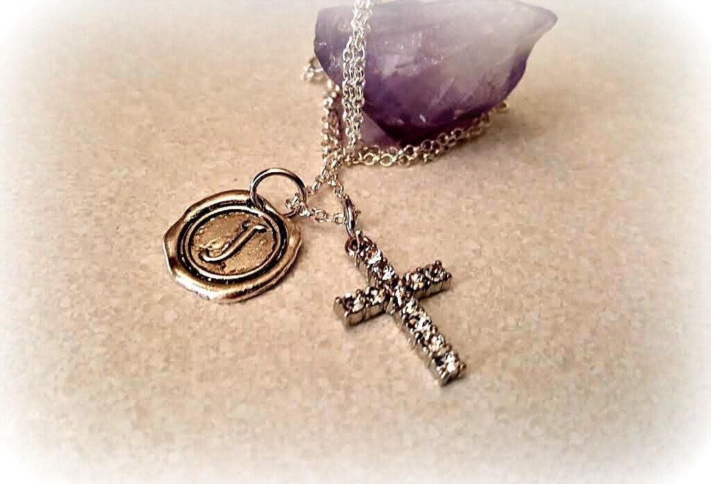 Personalized Initial Rhinestone Cross Necklace Cross I Love