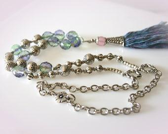Boho Beaded Silk Tassel Necklace. Blue and Purple Jeweltone.