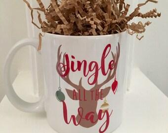 Jingle all the Way Reindeer Mug, 11 oz
