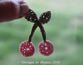 Crochet Cherries Applique Pattern, Easy Flower Crochet Pattern, Crochet Cherry Pattern, Christmas Applique Designs, Crocheted Flowers