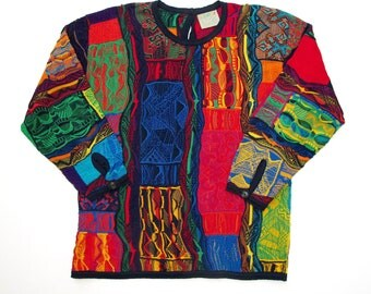 Coogi mercerized cotton Tunic Sweater Measures Like size SMALL 3D Art Knit