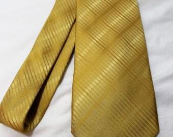 Vintage 3.8 Inch Wide John Ashford Gold Silk Necktie