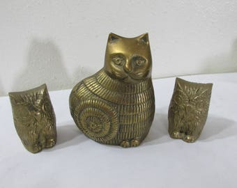 Brass Cat and 2 Owls Set of 3 Miniature Statues