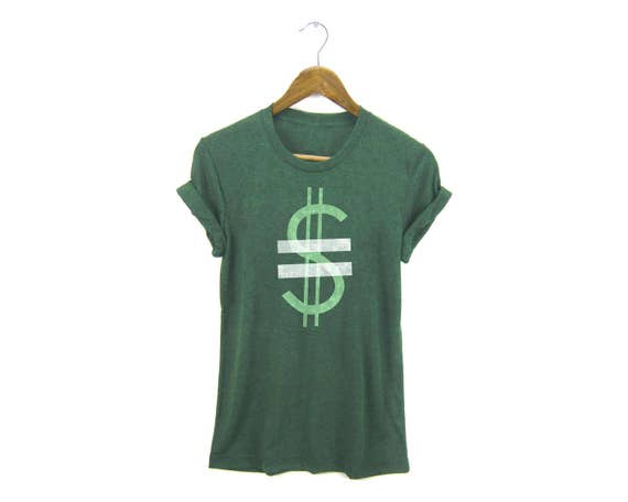 Equal Pay For Equal Work Tee - Boyfriend Fit Crew Neck Equal Pay Tshirt with Rolled Cuffs in Heather Grass Green - Women's S-3XL