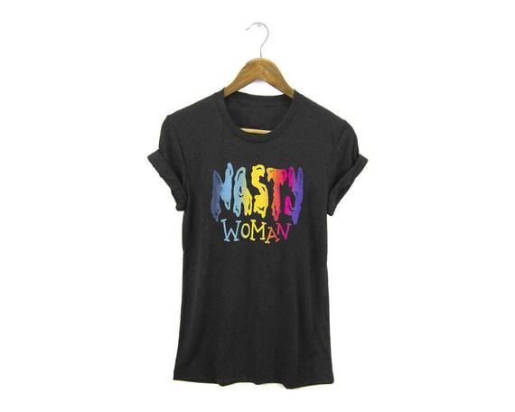 Nasty Woman Tee - Boyfriend Fit Crew Neck Tshirt with Rolled Cuffs in Heather Black and Neon Rainbow - Women's S-3XL
