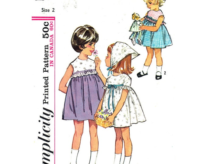 Girls Empire Dress Pattern Simplicity 5860 Gathered Skirt, Head Scarf Size 2