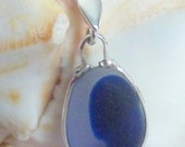 Blue Sea Glass Multi Necklace - Genuine English Seaglass Pendant on Sterling Chain - THE ABYSS