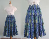 Boho 80s Cotton Ikat Print Tiered Skirt - Vintage Ikat Skirt in Blue and Green - Vintage 1980s Skirt S M L