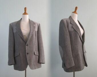 Vintage 70s Western Blazer by Pendleton - Vintage Mens Jacket Gray Herringbone Wool - Vintage 1970s Jacket Size 44