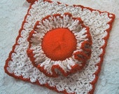Country Kitchen Set 2 Piece Ruffled Scrubber & Dish Cloth - Natural/Earthy Orange - Crocheted Cotton Yarn - Hostess Gift - Spring Cleaning