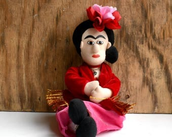 Frida Kahlo Doll, Art Doll, Fabric Doll, Decorative Frida Doll, Mexican Art Doll, Artist Doll, Vintage Doll, Gift for Her, Diego Rivera