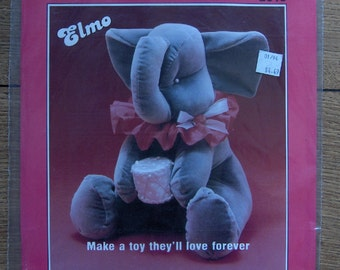 vintage 1989 craft sewing patten Elmo elephant by L.A. Designs uncut