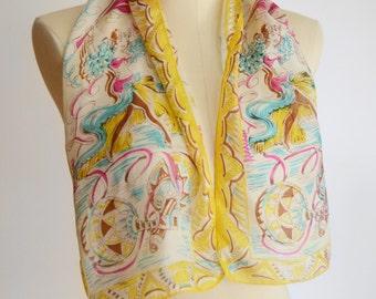 1940s/1950s Yellow Flamenco Dancer Silk Scarf