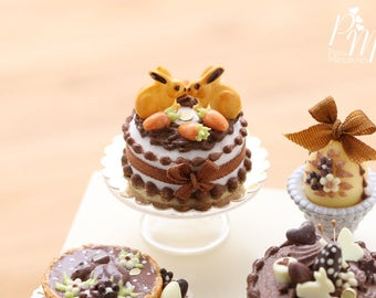 Made To Order-Chocolate Easter Cake Decorated with Bunny Cookies and Candy Egg 'Carrots' - Miniature Food in 12th Scale for Dollhouse