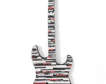 Guitar wall art-made from recycled magazines, rocker, electric guitar, music, classic, black and white, colorful, rock and roll,wall hanging