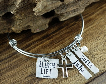 Personalized Mommy Bracelet, Blessed Personalized Bangle Bracelet, Silver Bangle Charm Bracelet, Name Bracelet, Hand Stamped Bracelet
