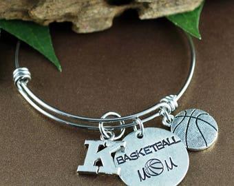Basketball Mom Bracelet, Personalized Sports Bracelet, Mom Jewelry, Mothers Day Gift, Initial Bracelet, Basketball Jewelry, Team Mom Gift