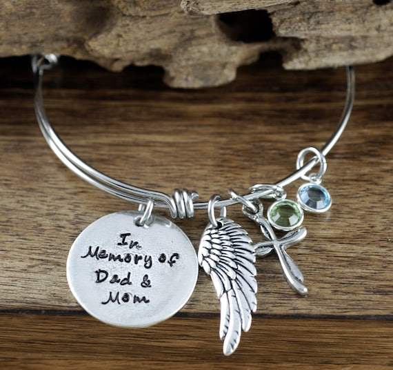 In Memory Of, Hand Stamped Memorial Bracelet, Remembrance Jewelry, Loss of Loved One, Sympathy Gift, Angel Wing Bracelet, Bereavement GIft