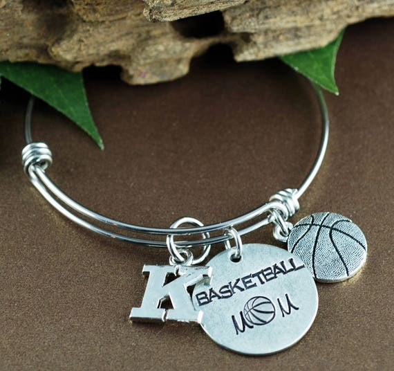 Basketball Mom Bracelet, Personalized Sports Bracelet, Mom Jewelry, Mothers Day Gift, Initial Bracelet, Basketball Jewelry, Team Mom Gift