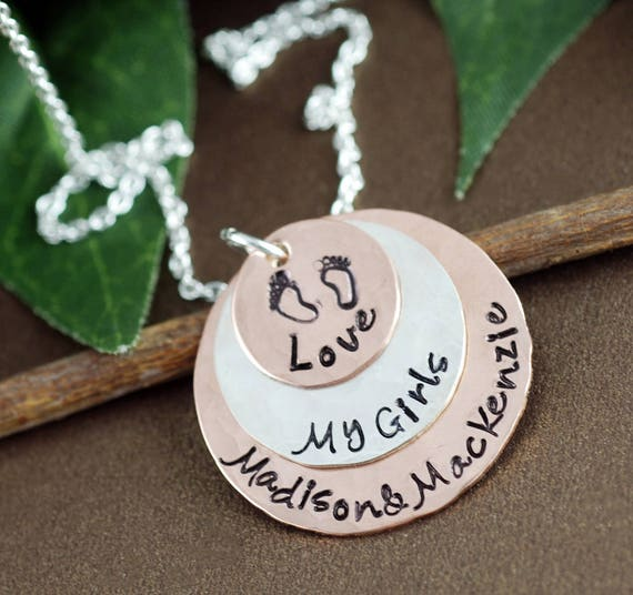 Love My Boys Necklace | Layered Copper & Sterling Silver Discs | Personalized Mommy Necklace | Hand Stamped Necklace | Baby Feet Necklace