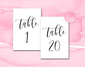 Printable Table Number, Cards, Wedding Reception Table Numbers, Wedding Table Decor | Meghan Script 4x6 Table Numbers 1 - 20