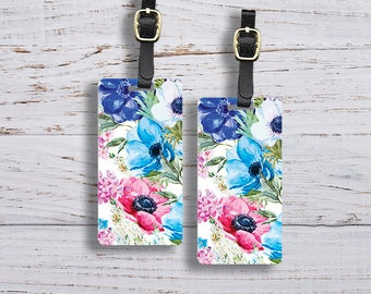 Luggage Tag Watercolor Florals Metal Luggage Tags With Printed Custom Info On Back, Single Tag or Set Available