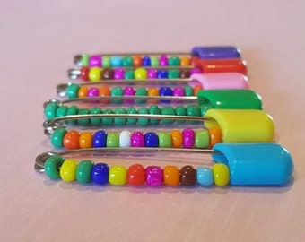 Lulu handmade colourful boho seed bead pins. Buy 2 get 1 free