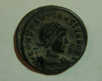 Authentic Roman Coin of Constantine II,  Reverse; Soldiers at standard 316-340 A.D.