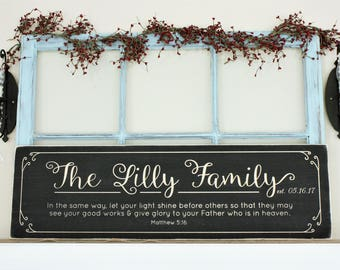Last Name Sign with Motto or Verse Personalized Chalkboard Farmhouse Wood Sign - 12x40 Wedding Anniversary Carved Wooden Sign