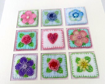 RESERVED FOR RENEE - Hand embroidered inchies card - fabric art card - miniature needlework art for framing - mothers day fibre art card