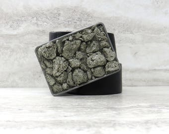 Pyrite Buckle with Silver or Gold Base -Unisex Belt Buckle with Sparkling Pyrite Nugget Stones/Buckle for jeans/Casual Buckle