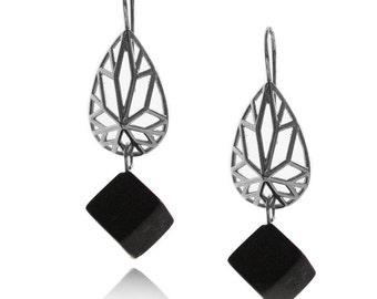 Geometric Earrings, Pear Shaped Earrings, Gifts for Her, Dangle Earrings, Onyx Earrings, Bridesmaid Earrings, Cube Earrings, Free Shipping