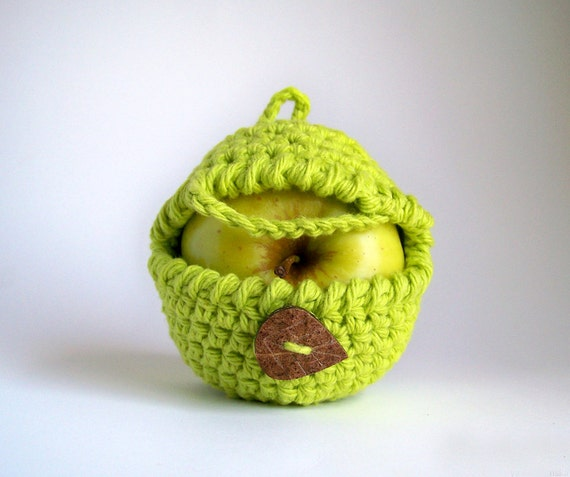 Greenery Apple Cozy, Yoga Gifts, Crochet Apple Cozy, Boyfriend Gift, Snack Bags, Student Gifts, Neon Green, Fitness Gifts, Vegan Gift
