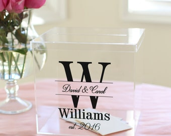 Personalized Wedding Card Box Clear Acrylic Monogrammed With Last Name (Item EEBB201)