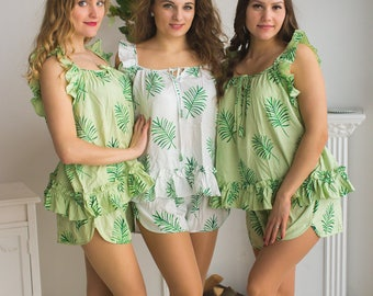 Ruffled Style Pj Sets in Tropical Delight Palm Leaves Pattern