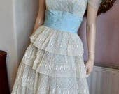 1950s Tiered Lace Prom Dress 3638 Bust