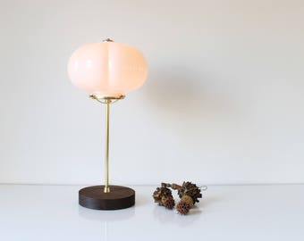 Cloud Globe Table Lamp, Industrial Brass and Wood Desk Lamp, White Cloud Glass Shade, Modern BootsNGus Lighting & Home Decor