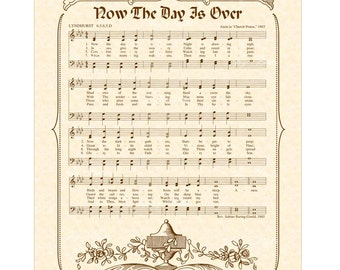Now the Day is Over - Hymn Art - Christian Home Decor - VintageVerses Sheet Music - Inspirational Wall Art- Nursery Art Children's Hymn Sale